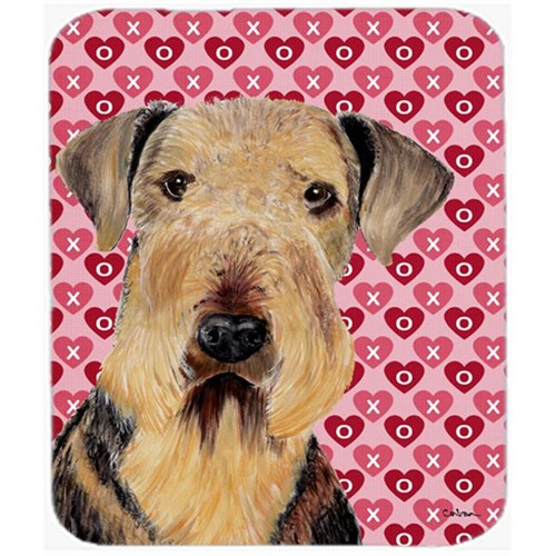 Carolines Treasures SC9266MP Airedale Hearts Love And Valentines Day Portrait Mouse Pad Hot Pad Or Trivet
