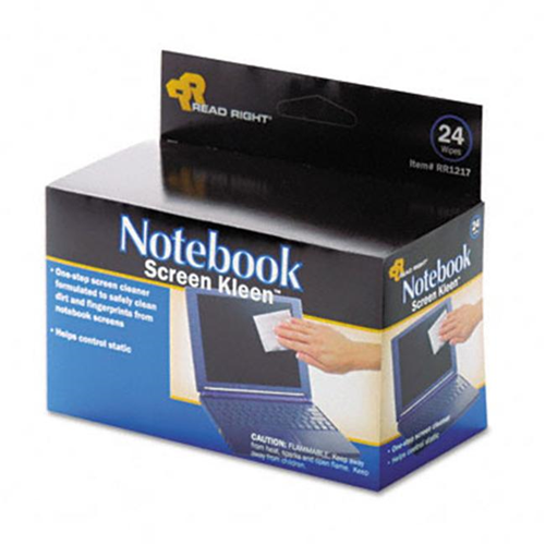 Read Right RR1217 Notebook ScreenKleen Pads Cloth 2-1/2 x 5-1/4 White 24/box