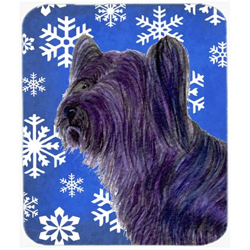 Carolines Treasures SS4601MP Skye Terrier Winter Snowflakes Holiday Mouse Pad Hot Pad Or Trivet