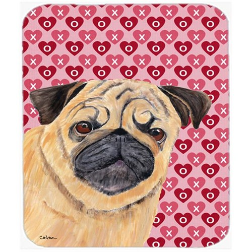 Carolines Treasures SC9268MP Pug Hearts Love And Valentines Day Portrait Mouse Pad Hot Pad Or Trivet