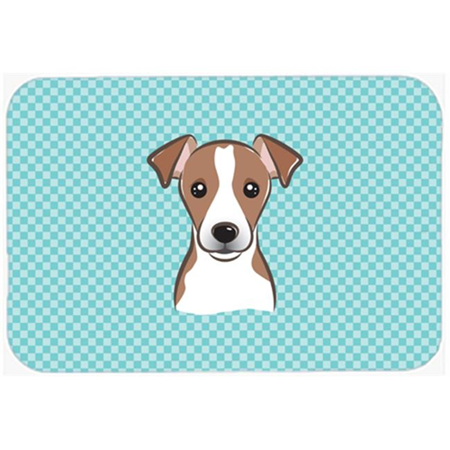 Carolines Treasures BB1198MP Checkerboard Blue Jack Russell Terrier Mouse Pad Hot Pad Or Trivet 7.75 x 9.25 In.