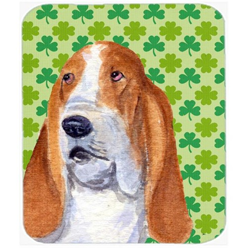 Carolines Treasures SS4459MP Basset Hound St. Patricks Day Shamrock Portrait Mouse Pad Hot Pad Or Trivet