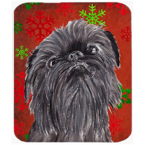 Carolines Treasures SC9587MP 7.75 x 9.25 in. Brussels Griffon Red Snowflake Christmas Mouse Pad Hot Pad or Trivet