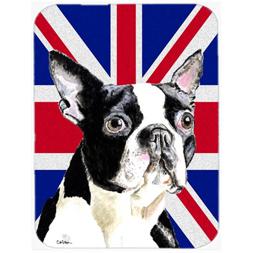 Carolines Treasures SC9816MP 7.75 x 9.25 In. Boston Terrier With English Union Jack British Flag Mouse Pad Hot Pad Or Trivet