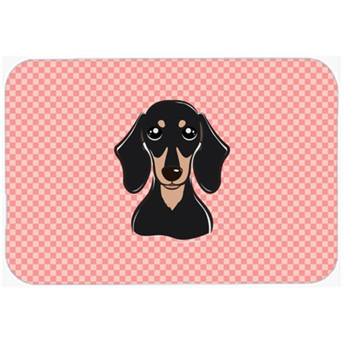 Carolines Treasures BB1215MP Checkerboard Pink Smooth Black And Tan Dachshund Mouse Pad Hot Pad Or Trivet 7.75 x 9.25 In.