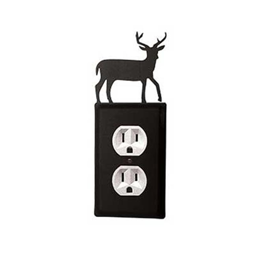 Village Wrought Iron EO-3 Deer Outlet Cover-Black