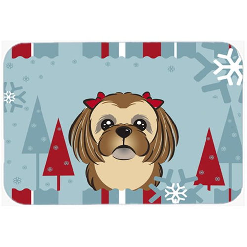 Carolines Treasures BB1745MP Winter Holiday Chocolate Brown Shih Tzu Mouse Pad Hot Pad & Trivet