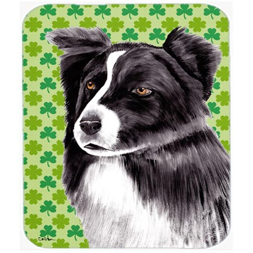 Carolines Treasures SC9287MP Border Collie St. Patricks Day Shamrock Portrait Mouse Pad Hot Pad or Trivet