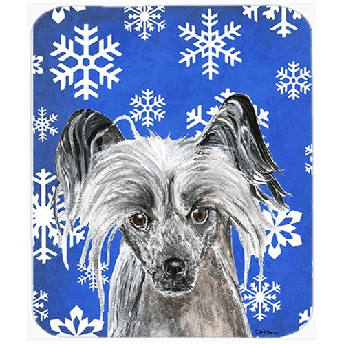 Carolines Treasures SC9606MP 7.75 x 9.25 in. Chinese Crested Blue Snowflake Winter Mouse Pad Hot Pad or Trivet