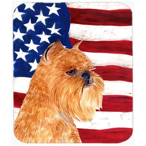 Carolines Treasures SS4020MP Usa American Flag With Brussels Griffon Mouse Pad Hot Pad Or Trivet