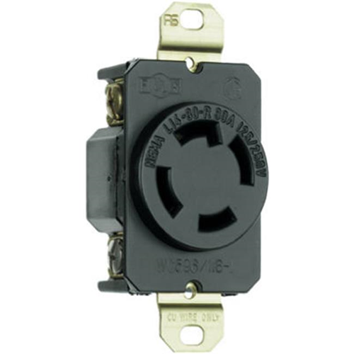 Pass & Seymour L1430RCCV3 30A 3 Pole 4 Wire Grounding Locking Outlet Black