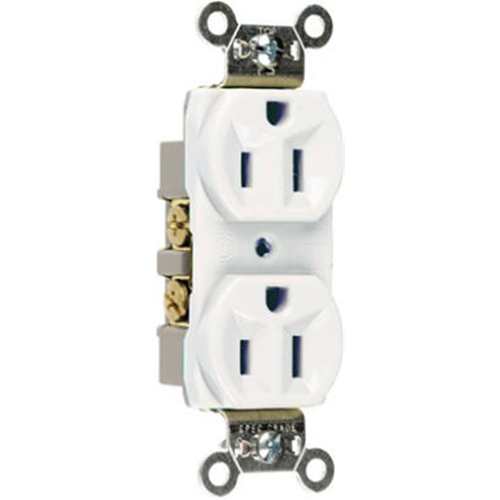 Pass & Seymour CRB5262WCC12 Heavy Duty Duplex Outlet 15A White
