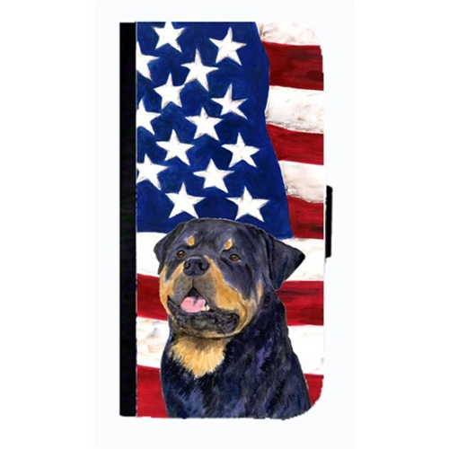 Carolines Treasures SS4009NBGALAXYS4 USA American Flag With Rottweiler Cell Phonebook Case Cover For Galaxy 4S