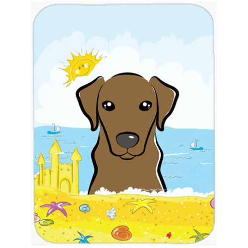 Carolines Treasures BB2102MP Chocolate Labrador Summer Beach Mouse Pad Hot Pad or Trivet