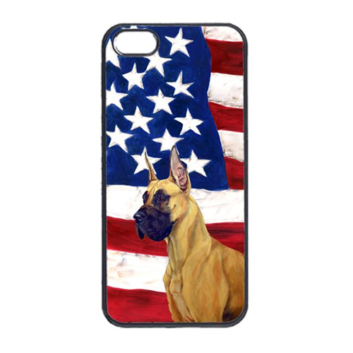 Carolines Treasures LH9025IP4 USA American Flag With Great Dane Iphone 4 Cover