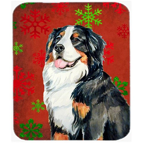 Carolines Treasures LH9334MP Bernese Mountain Dog Red Snowflakes Christmas Mouse Pad Hot Pad Or Trivet - 7.75 x 9.25 In.