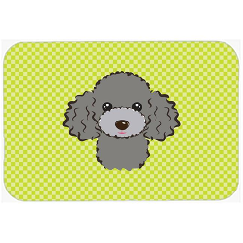 Carolines Treasures BB1321MP Checkerboard Lime Green Silver Gray Poodle Mouse Pad Hot Pad Or Trivet 7.75 x 9.25 In.