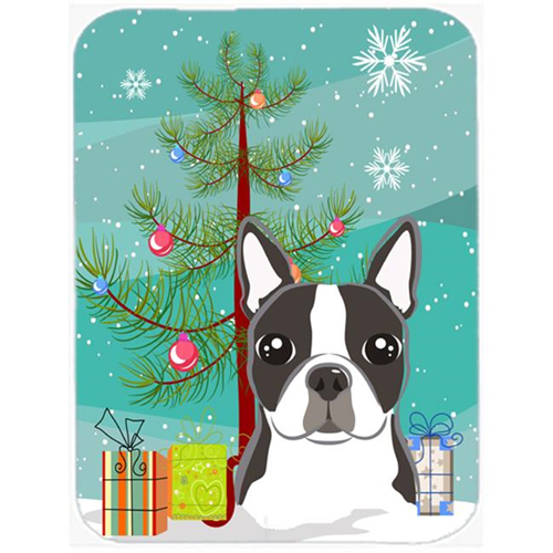 Carolines Treasures BB1575MP Christmas Tree And Boston Terrier Mouse Pad Hot Pad & Trivet