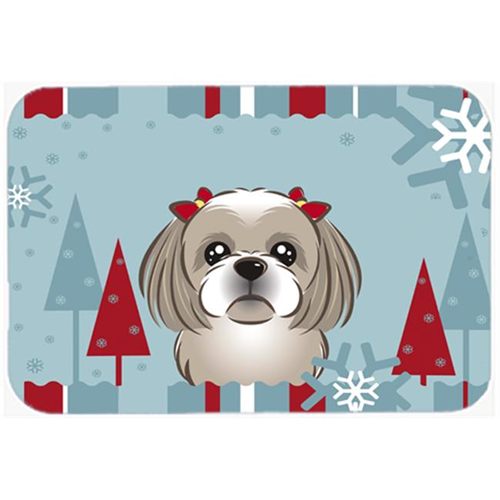 Carolines Treasures BB1746MP Winter Holiday Gray Silver Shih Tzu Mouse Pad Hot Pad & Trivet
