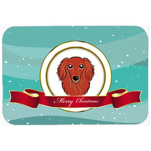 Carolines Treasures BB1524MP Longhair Red Dachshund Merry Christmas Mouse Pad Hot Pad & Trivet