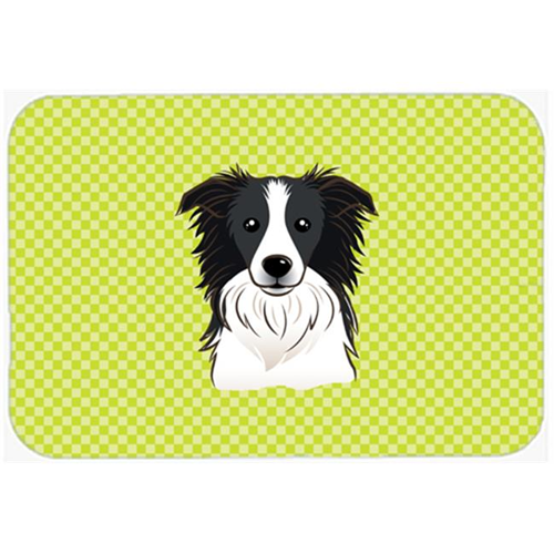 Carolines Treasures BB1303MP Checkerboard Lime Green Border Collie Mouse Pad Hot Pad Or Trivet 7.75 x 9.25 In.