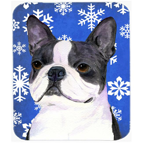 Carolines Treasures SS4654MP Boston Terrier Winter Snowflakes Holiday Mouse Pad Hot Pad or Trivet