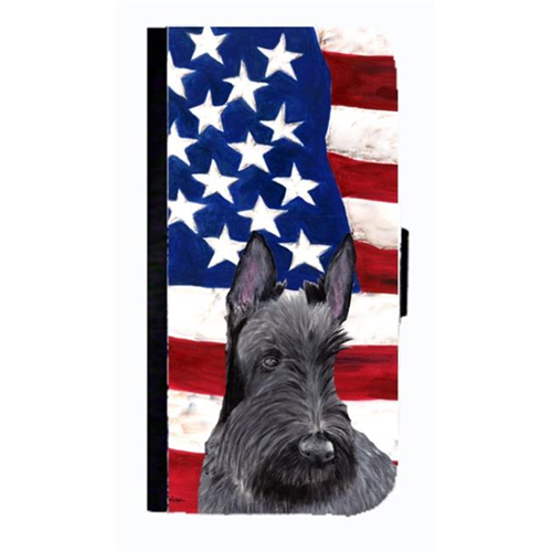 Carolines Treasures SC9032NBGALAXYS4 USA American Flag With Scottish Terrier Cell Phone Case Cover For Galaxy 4S