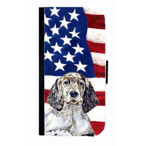 Carolines Treasures LH9022NBIP4 USA American Flag With English Setter Cell Phonebook Cover For Iphone 4 Or 4S