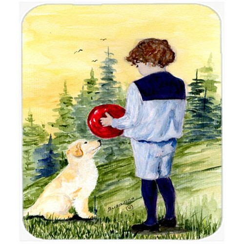 Carolines Treasures SS8530MP Little Boy With His Golden Retriever Mouse Pad Hot Pad or Trivet