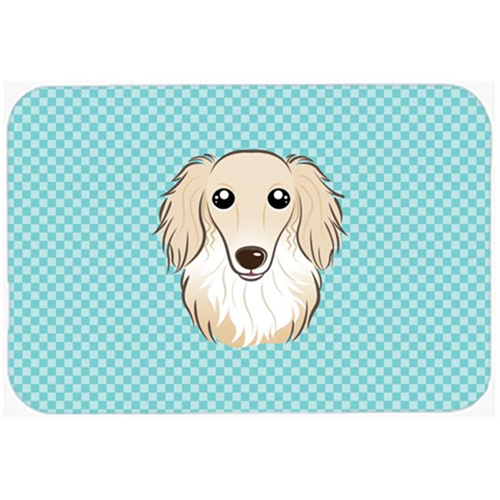 Carolines Treasures BB1150MP Checkerboard Blue Longhair Creme Dachshund Mouse Pad Hot Pad Or Trivet 7.75 x 9.25 In.