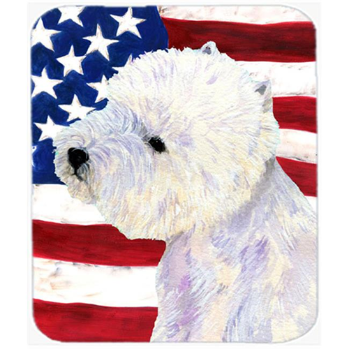 Carolines Treasures SS4249MP Usa American Flag With Westie Mouse Pad Hot Pad Or Trivet