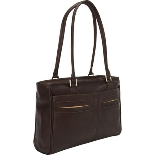 Piel Leather 3001 - CHC Ladies Laptop Tote With Pockets - Chocolate
