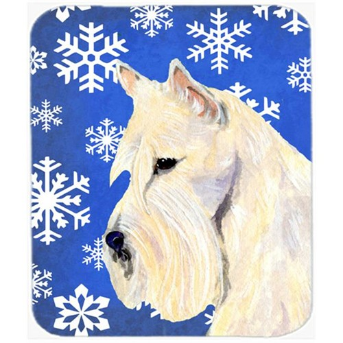 Carolines Treasures SS4668MP Scottish Terrier Winter Snowflakes Holiday Mouse Pad Hot Pad or Trivet