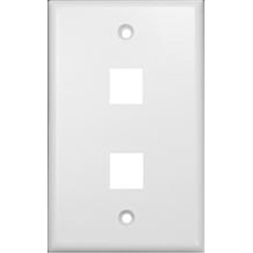 Morris Products 88164 Wallplate For Keystone Jacks And Modular Inserts Two Ports White