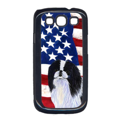 Carolines Treasures SS4223GALAXYS3 USA American Flag with Japanese Chin Cell Phone Cover GALAXY S111