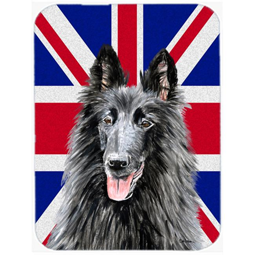 Carolines Treasures SC9855MP 7.75 x 9.25 In. Belgian Sheepdog With English Union Jack British Flag Mouse Pad Hot Pad Or Trivet