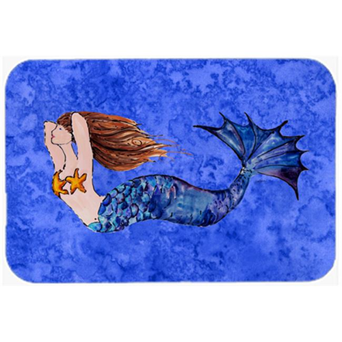 Carolines Treasures 8725MP Brunette Mermaid On Blue Mouse Pad Hot Pad & Trivet