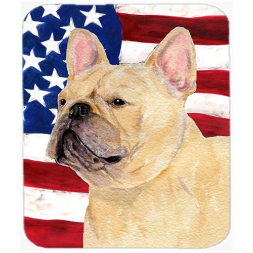 Carolines Treasures SS4047MP Usa American Flag With French Bulldog Mouse Pad Hot Pad Or Trivet
