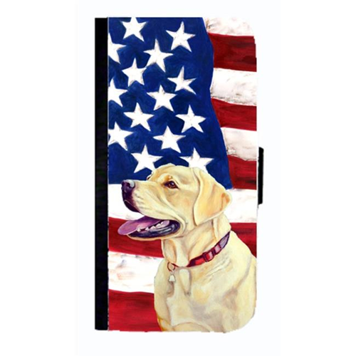 Carolines Treasures LH9008NBGALAXYS4 USA American Flag With Labrador Cell Phonebook Case Cover For Galaxy 4S