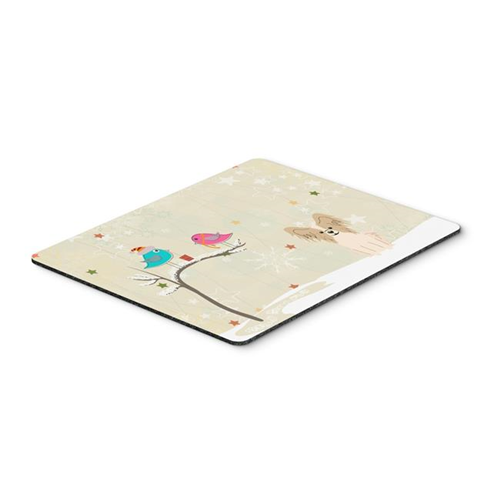 Carolines Treasures BB2549MP Christmas Presents Between Friends Papillon Sable White Mouse Pad Hot Pad or Trivet