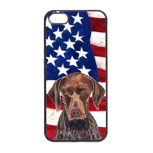 Carolines Treasures SC9034IP4 USA American Flag With German Shorthaired Pointer Iphone 4 Cover
