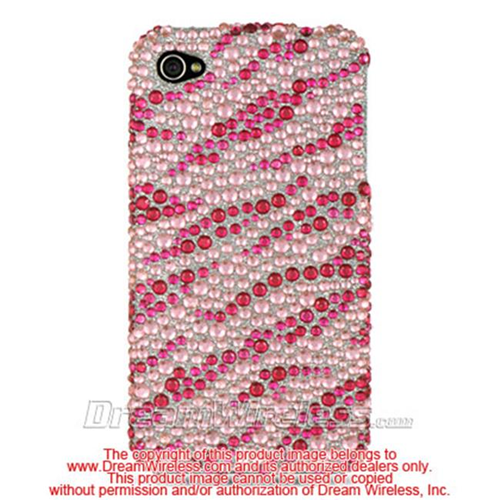DreamWireless IP-FDIP4PKZ iPhone 4S & iPhone 4 Compatible Hd Full Diamond Case - Pink Plus Silver Zebra