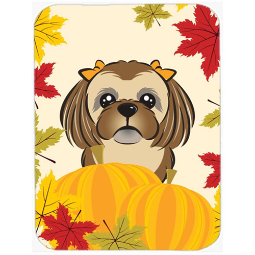 Carolines Treasures BB2055MP Chocolate Brown Shih Tzu Thanksgiving Mouse Pad Hot Pad or Trivet