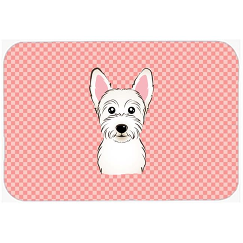 Carolines Treasures BB1226MP Checkerboard Pink Westie Mouse Pad Hot Pad Or Trivet 7.75 x 9.25 In.