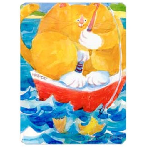 Carolines Treasures 6014MP 9.5 x 8 in. HMS Orange Tabby Fishing Cat Mouse Pad Hot Pad Or Trivet