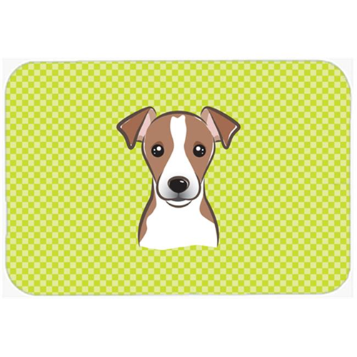 Carolines Treasures BB1322MP Checkerboard Lime Green Jack Russell Terrier Mouse Pad Hot Pad Or Trivet 7.75 x 9.25 In.
