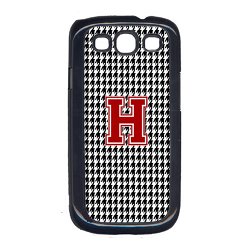 Carolines Treasures CJ1021-H-GALAXYSIII 3 x 5 in. Houndstooth Black Letter H Monogram Initial Cell Phone Cover for Galaxy S111