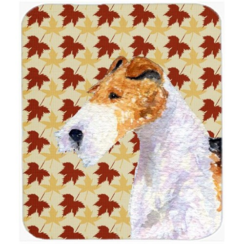 Carolines Treasures SS4378MP Fox Terrier Fall Leaves Portrait Mouse Pad Hot Pad Or Trivet