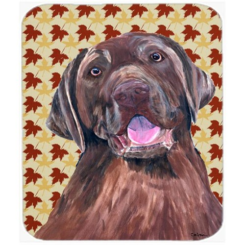 Carolines Treasures SC9224MP 9.5 x 8 in. Labrador Chocolate Fall Leaves Portrait Mouse Pad Hot Pad or Trivet