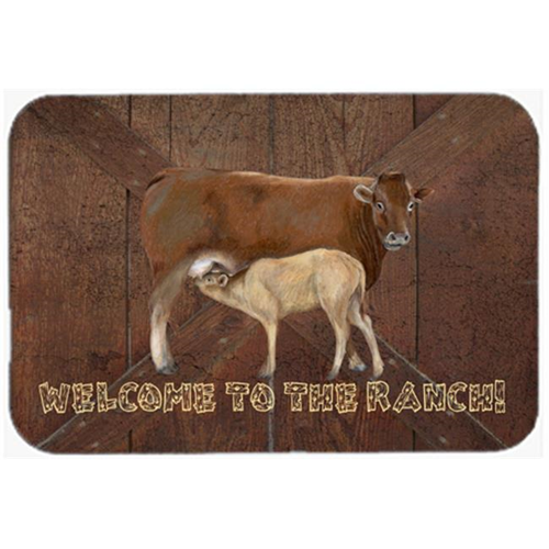 Carolines Treasures SB3084MP 7.75 x 9.25 In. Welcome To The Ranch With The Cow And Baby Mouse Pad Hot Pad Or Trivet